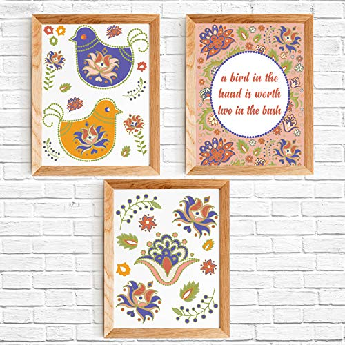 Inspirational Quote Home Decor Wall Art Print Poster Set of 3 - A Bird In The Hand Is Worth Two In The Bush -Each 8