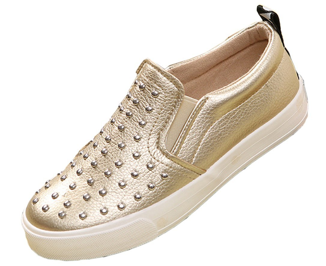 iDuoDuo Boys Girls Rivet Studded Low Top Dress Party Loafers Casual Leather Slip-on Gold 4 M US Big Kid