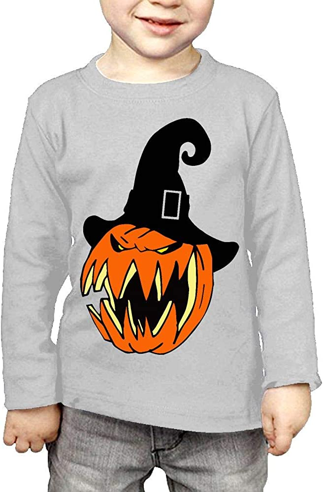 Little Boys Pumpkin with Witch Hat4 ComfortSoft Long Sleeve Tee