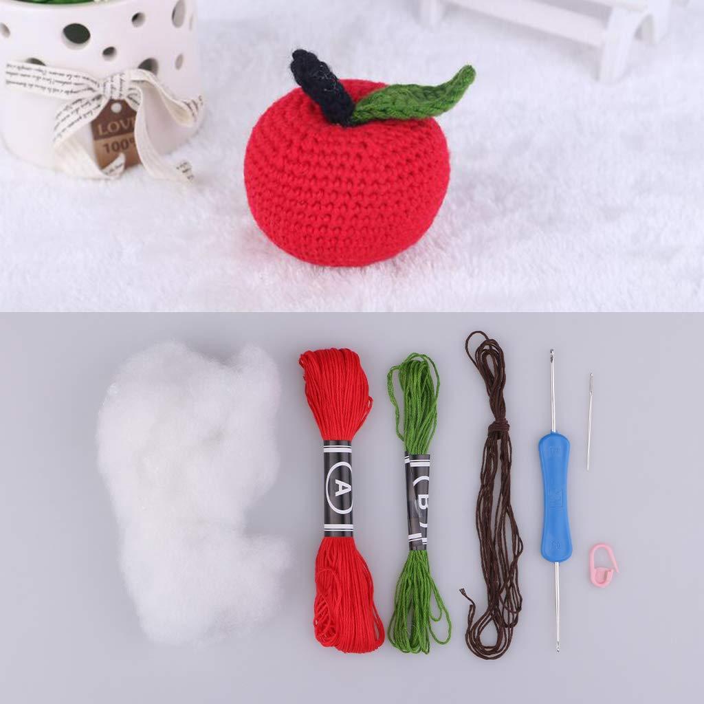 FLAMEER Kreative Rote Apfel Puppe H/äkelset Stricken Kit DIY Handgemachte Geh/äkelte Verzierung
