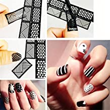 Wispun 6pcs/Set 6 Styles DIY Nail Art Hollow Template Stickers Decals Stamp Stencil Guide Reusable Stamping Tool
