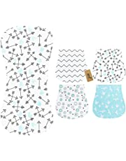 iZiv 4 Pack Baby Burp Cloths Feeding Nursing Towel Accessory, 3 Layers Absorbent Printing Soft Cotton 0-2 Years (Color-11)