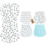 iZiv 4 Pack Baby Burp Cloths Feeding Nursing Towel Accessory, 3 Layers Absorbent Printing Soft Cotton 0-2 Years (Color…
