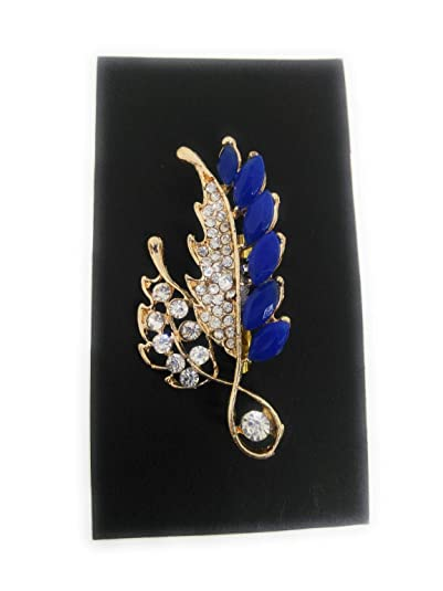 c9b3d12ec Buy Brooch Saree Pin for Men, Girls & Women, Blue Color Simulated Gemstone  and White Color Stone Stud, Gold Tone Online at Low Prices in India |  Amazon ...