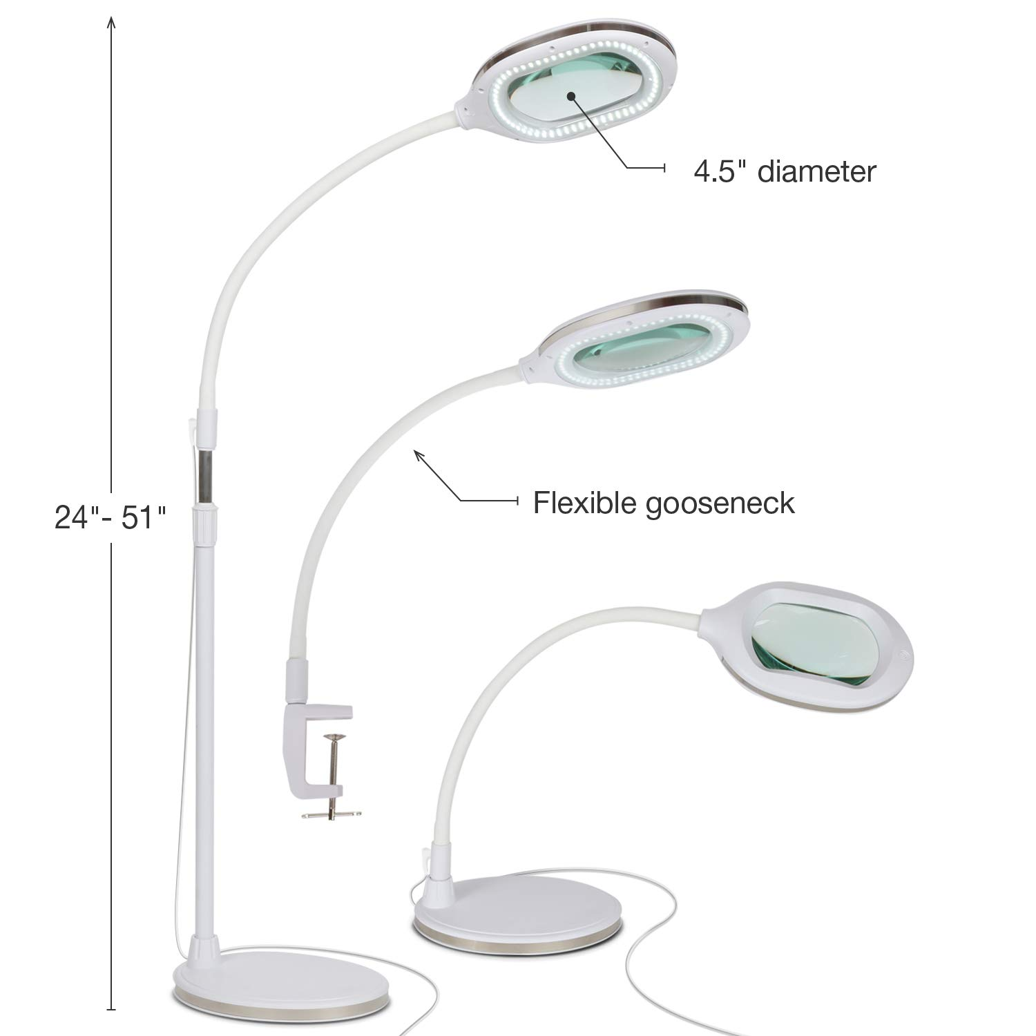 Brightech Lightview Pro 3 in 1 LED Magnifying Glass Floor Lamp- Use as a Table, Floor, or Desk Lamp - Real Diopter Glass Lens – Height Adjustable Gooseneck Standing Light – White by Brightech (Image #3)