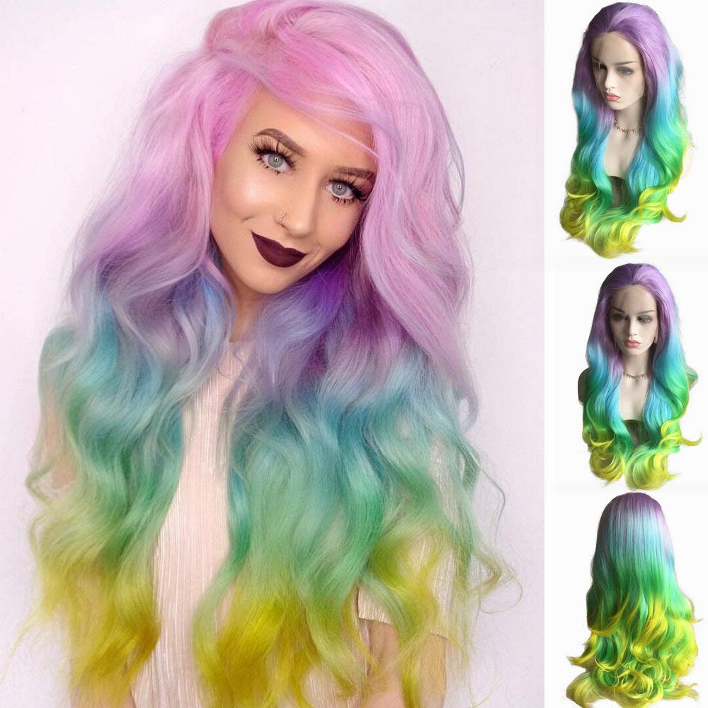 26'' Long Mermaid Colorful Rainbow Wigs For Drag Queen Pastel Lilac Purple/Blue/Green/Yellow Ombre Color Synthetic Lace Front Women's Cosplay Party Wedding Wigs Summer Hairstyle by Yinuozhogntian
