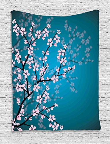 Ambesonne Teal Tapestry Decor, Pink Blossoms Art Leaves and Plants Ombre Spring Japanese Sakura Flowers in Garden Park, Wall Hanging for Bedroom Living Room Dorm, 40 x 60 Inches, Petrol ()