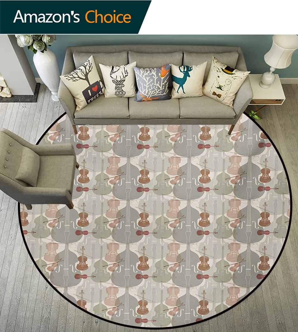 RUGSMAT Music Super Soft Circle Rugs for Girls,Classical Instrumets String Quartet Violins Baroque Sonata Baby Room Decor Round Carpets,Diameter-71 Inch Pale Caramel Warm Taupe Reseda Green by RUGSMAT (Image #6)