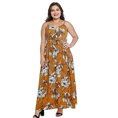 SGMORE Women\'s Sleeveless Plus Size Dresses, Casual Bohemia Print ...