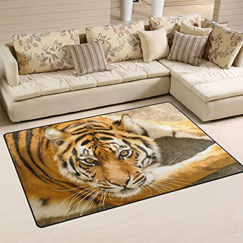 Yochoice Non-slip Area Rugs Home Decor, Beautiful Amur Tiger Animal Kingdom Floor Mat Living Room Bedroom Carpets Doormats 60 x 39 inches by Yochoice