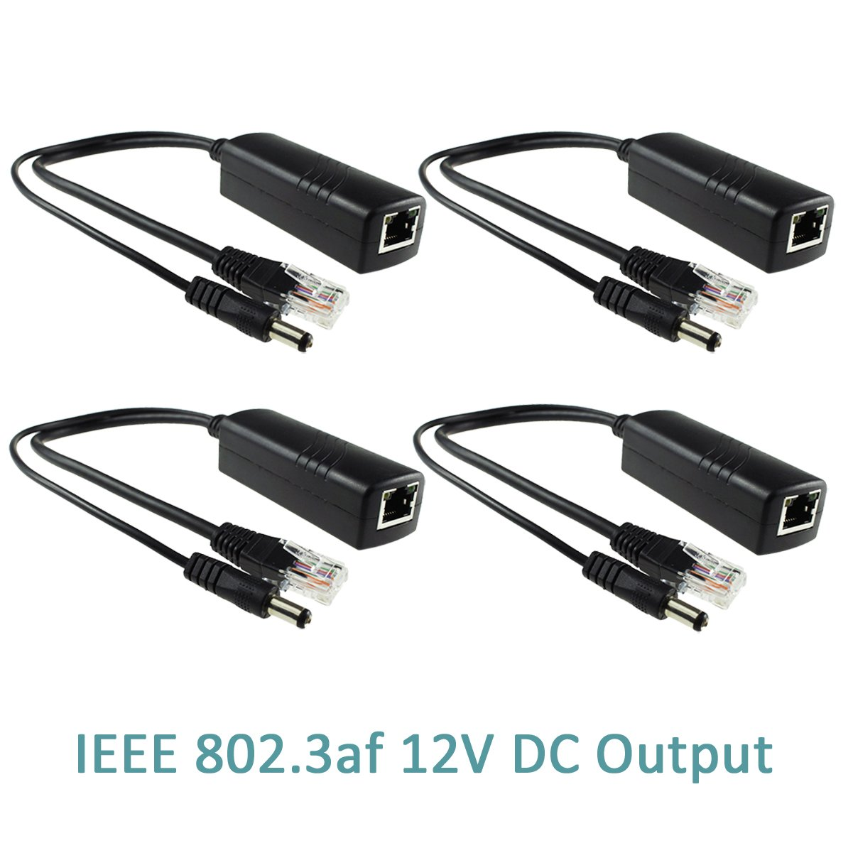 IEEE 802.3af Compliant 10//100Mbps for IP Camera AP Voip Phone and More ANVISION Active 48V to 12V Waterproof PoE Splitter Adapter White