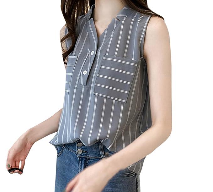 Freestyle Verano Mujeres Blusa Joven Moda Cuello V Camisetas Sin Mangas Camisas Tops Vest Casual Suelto