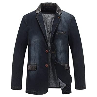 Itemnew Man's Sports Notched Collar 2 Button Slim Distressed Denim Blazer Jacket Leather Trim at Amazon Men's Clothing store