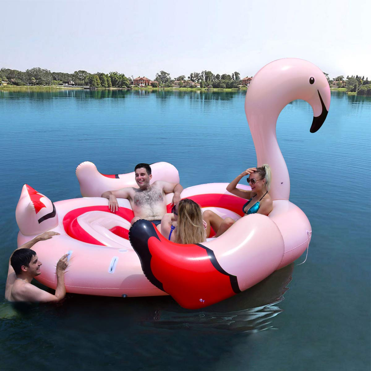 Goplus Island Giant Flamingo Float, Swimming Pool Raft Lounge for Adults & Kids, Inflatable Toy for Summer Pool Party, Beach Toys Large Pool Floats for up to 6 People (Flamingo) by Goplus