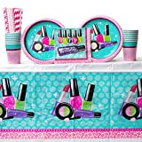 Sparkle Spa Party Supplies Pack Bundle for 16 Guests: Straws, Dinner Plates, Luncheon Napkins, Cups, and Table Cover