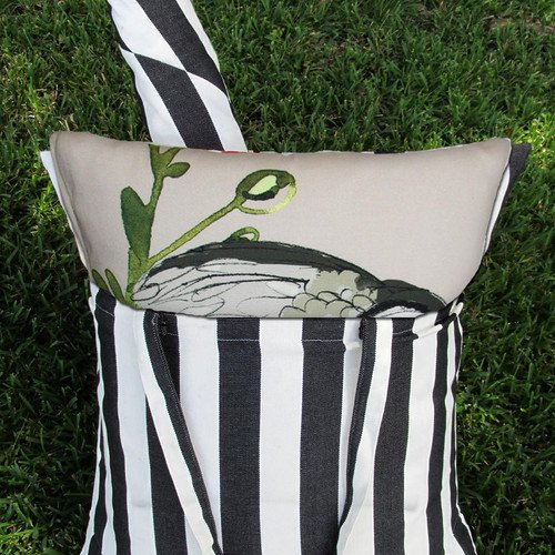 Magnolia Hammock Swing Chair Black White Stripe Owl Back Pillow