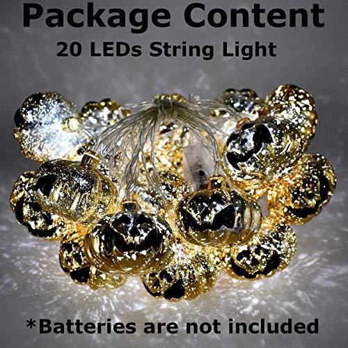 AIRERA Halloween Lichterketten, 2M 20 LED Lichterketten Batteriebetrieben 3D Kürbis/Schädel Beleuchtung für Halloween Weihnachten Festival Party Dekoration