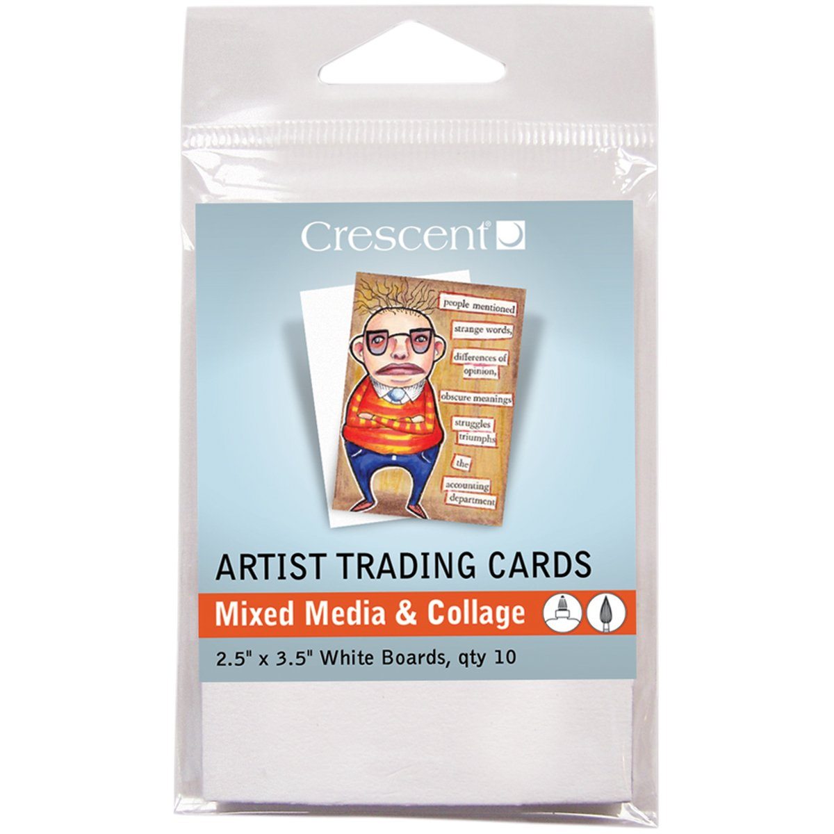 Crescent Cardboard Artist Mixed Media & Collage Trading Cards (10 Pack), 2.5' by 3.5', White