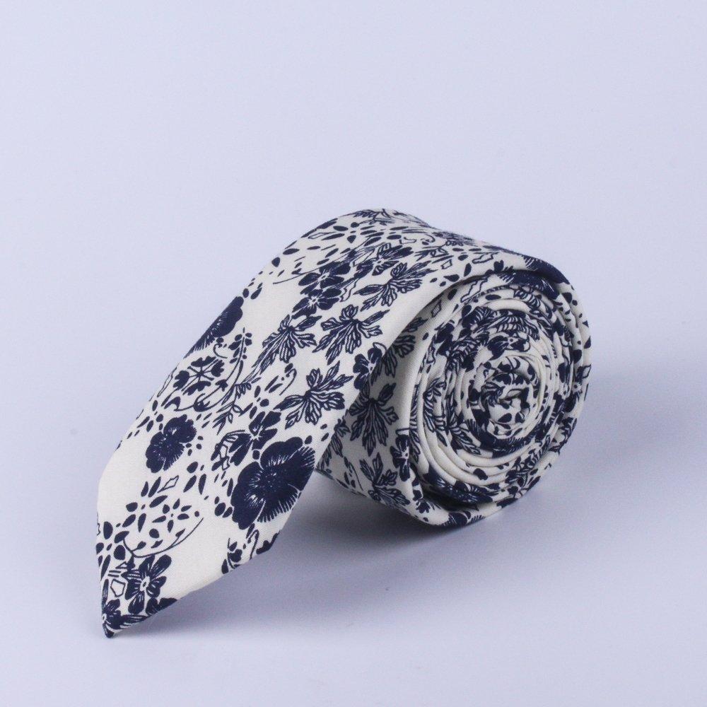 Retro Blue Floral Tie Mens Floral Neckties Wedding Ties Groomsmen Ties