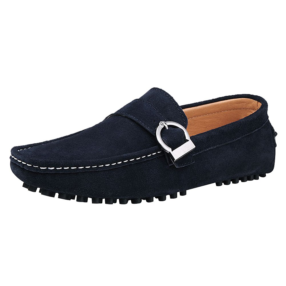 Men's Classic Monk Strap Driving Moccasin-Gommino Casual Loafer Slip Ons Boat Shoes
