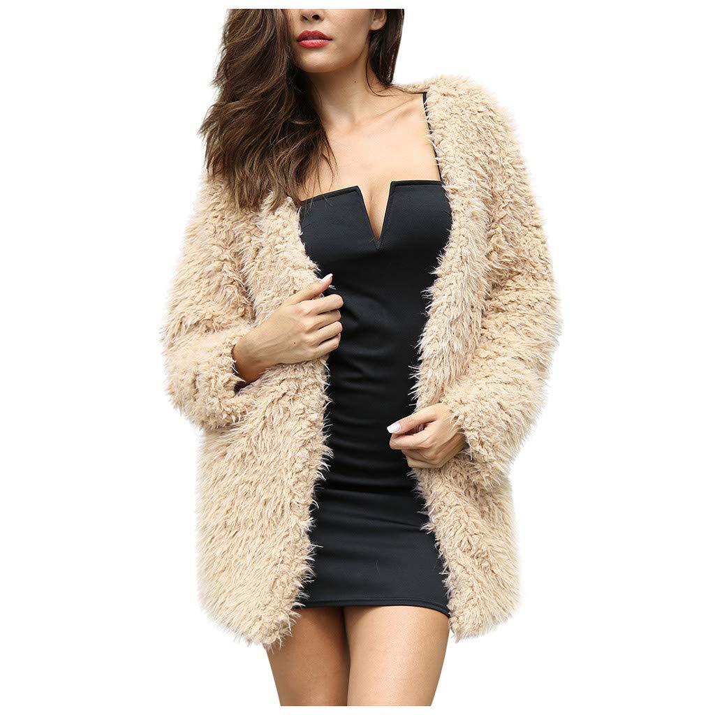 Gleamfut Women's Faux Woolen Cardigan Plus Size Winter Long Sleeve Comfortable Warm Coat Overcoat Khaki by Gleamfut