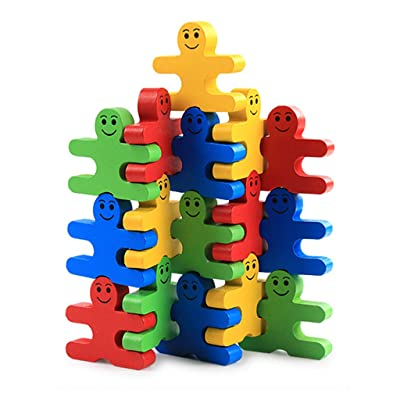 yuanhaourty Sortong Stacker Baby Kid Education Wooden Toy Stacking Nest Learning Stack Up Rainbow Tower Ring: Toys & Games