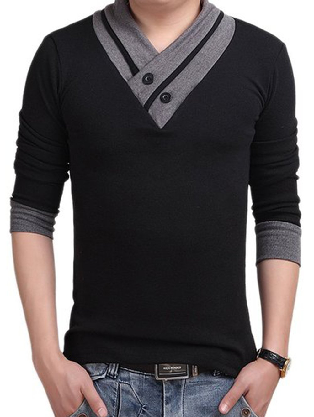 L'Asher Men Summer Fashion Button V Neck Slim Muscle Tops Tee T Shirt Tshirt (US M/Asia Tag XL, Black(Long Sleeve)) by L-Asher
