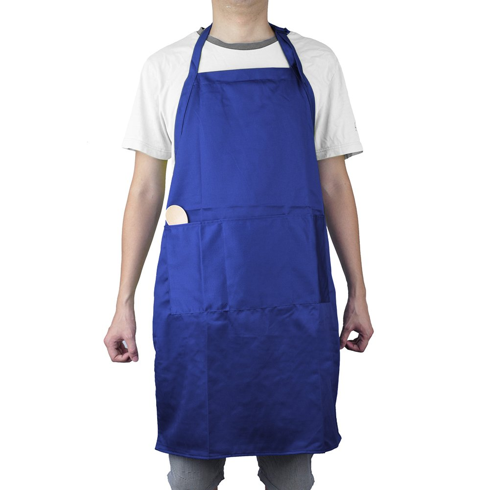 Opromo Heavyweight Unisex Adjustable Polyester/Cotton Bib Apron with Three Pockets, 25''W x 34.5''H BLUE-24PACK