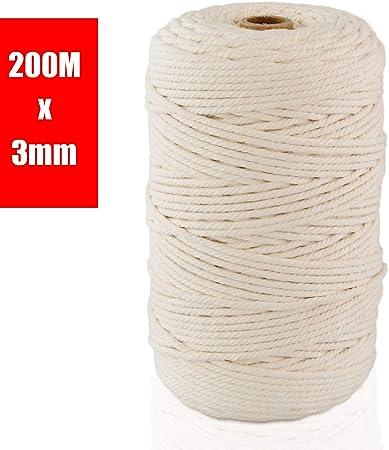 ipow Hilo macrame 3mm x 200 m de 100% algodón, Hilo de algodón beige, Cuerdas Macrame natural para artesanía DIY, Colgante de Pared, atrapasueños, tapices macramé, etc.: Amazon.es: Hogar