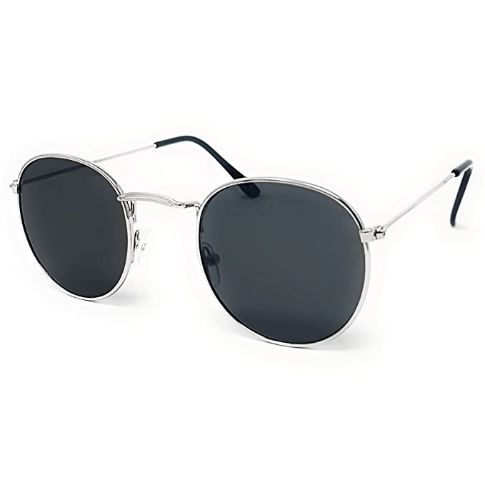 2af5fe912 Round Lens Sunglasses [Silver Frame, Black Lens]: Amazon.co.uk: Clothing