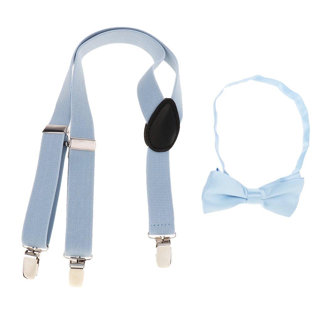 Homyl Kids Suspenders Bowtie Set-Adjustable Suspender Set for Boys Girls as described