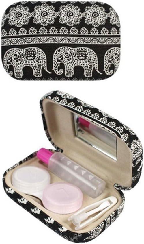 SwirlColor Caja Lentillas Bohemia Elefante Imprimir Estuche Lentillas Duras Kit Viaje Caja de Lentillas con Espejo-Negro: Amazon.es: Hogar