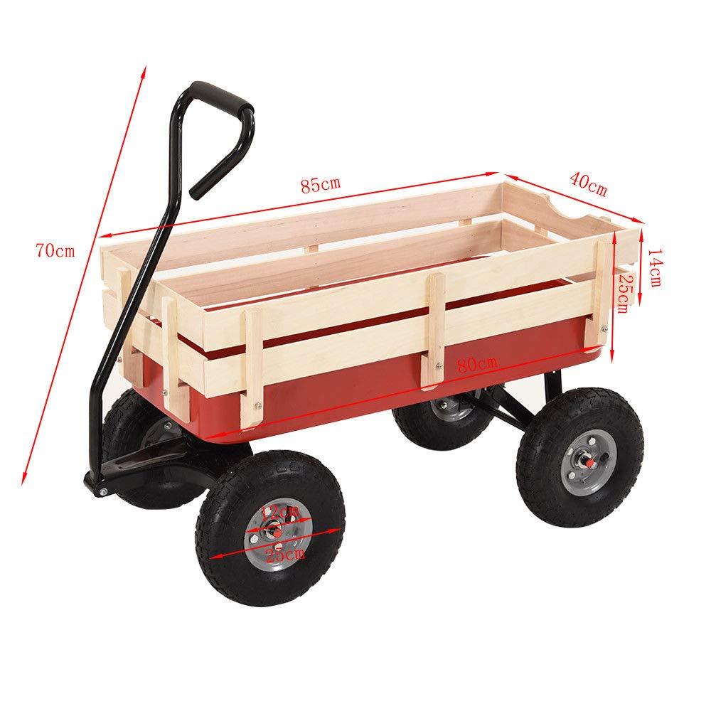 Carro de Transporte para niños con Ruedas de 25,4 cm de Ancho, para Remolque de Carrito de Carrito de Remolque TR Garden Wagon para niños de 10 Pulgadas: ...