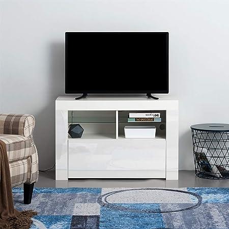 T.Mullen - Mueble Moderno para televisor (100 cm, Acabado Mate y Blanco Brillante, con Luces LED RGB): Amazon.es: Hogar