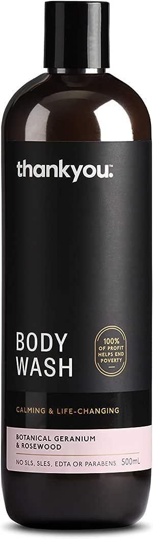 Thankyou Body Wash Botanical Geranium & Rosewood - Calming, 500ml (more options available)