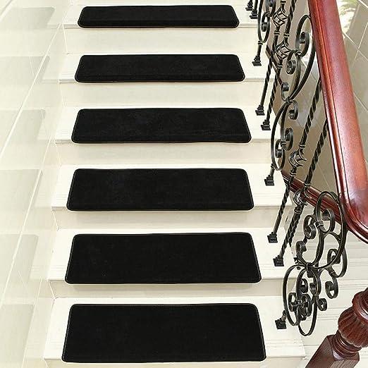 XOCKYE Alfombras para Escalera,Set de 15 Unidades Espesar decoración del hogar para Escalera Antideslizantes Alfombrilla para peldaños @Negro_Los 80x24cm: Amazon.es: Hogar
