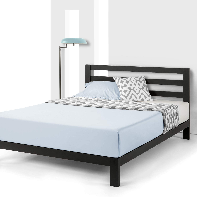 New Full Size Metal Platform Slats Wood Bed Frame Mattress Foundation Bedroom