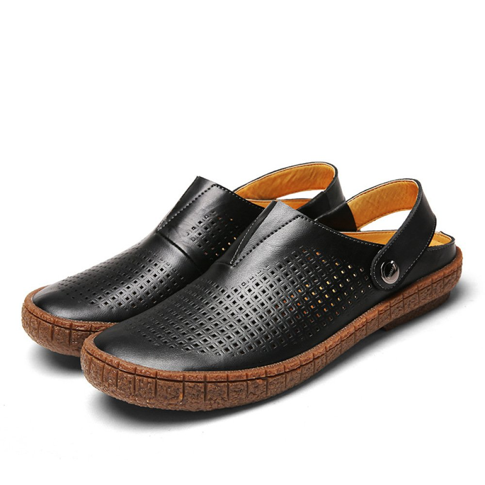 LYZGF Männer Jugend Sommer Casual Fashion Sandalen Loch Im Lederschuhe Alter Von Daddy Beach Lederschuhe Im schwarz 0a08b7