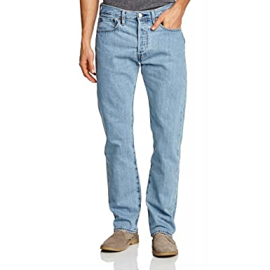 Mens 501 Original Fit Straight Jeans, Blue (Light Broken-In 0113), 36W x 34L Levi's