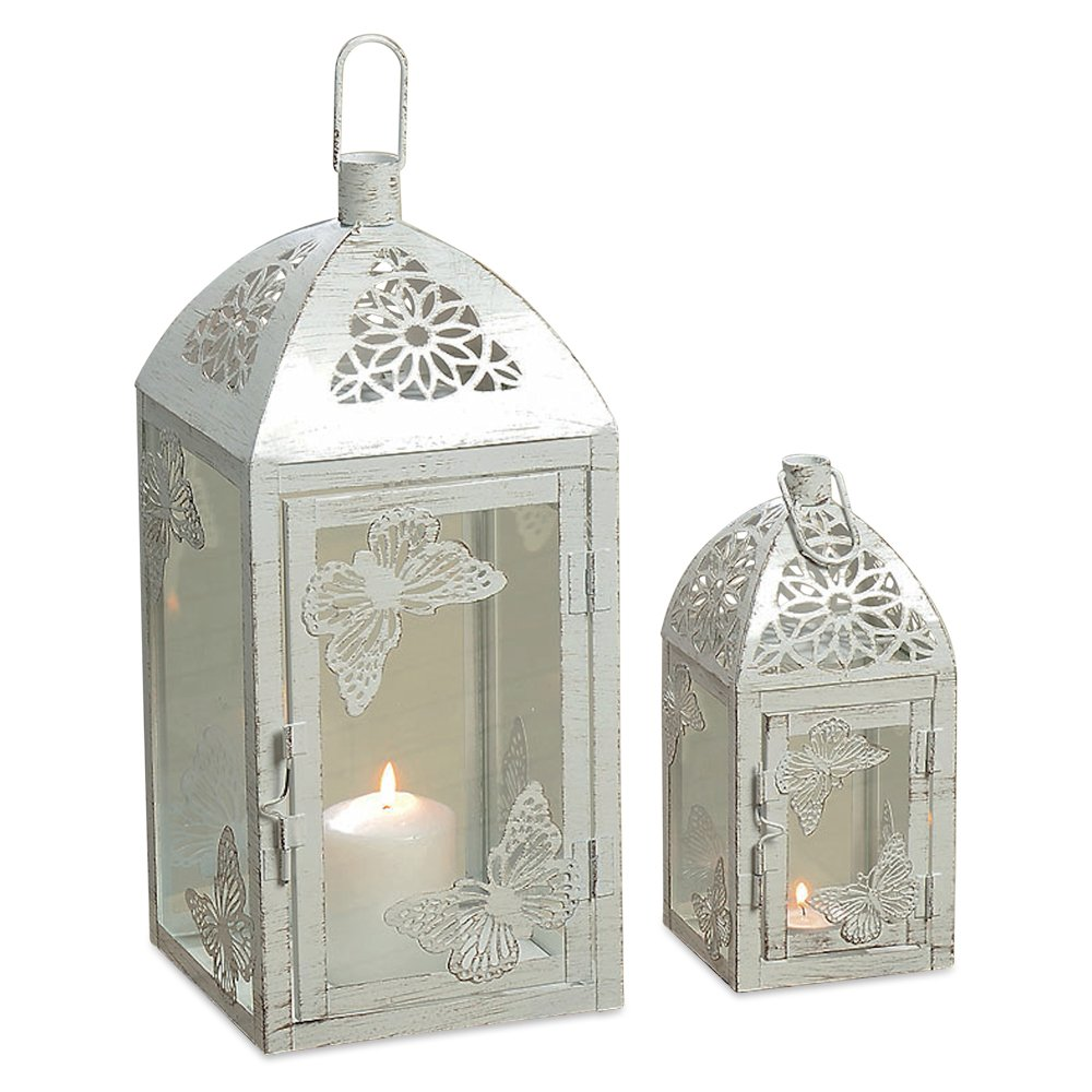 Romantic Butterfly White Distressed Lantern Candle  Set of 2 | ChristmasTablescapeDecor.com