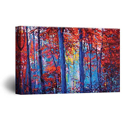 Abstract Oil Painting Style Blue and Red Compositon Forest