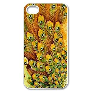 Jumphigh Feathers IPhone 4/4s Cases Beautiful Peacock Feathers, Feathers [White]