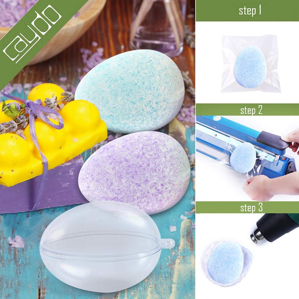 Easter Clear Plastic Ornaments and Party Decorations Caydo 5 Set Plastic Easter Egg Shape Bath Bomb Mold with 100 Pieces 6 x 4 Inch Shrink Wrap Bags for DIY Fizzles