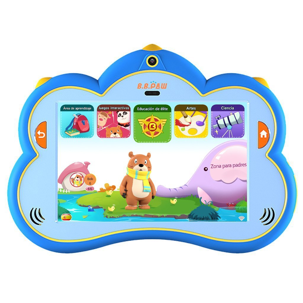 Kids Tablet, B.B.PAW 8 inch 1G+16G Eye-protection Spanish&English Whole Brain Education Tablet for Kids with 90+ Preloaded Learning and Training Apps