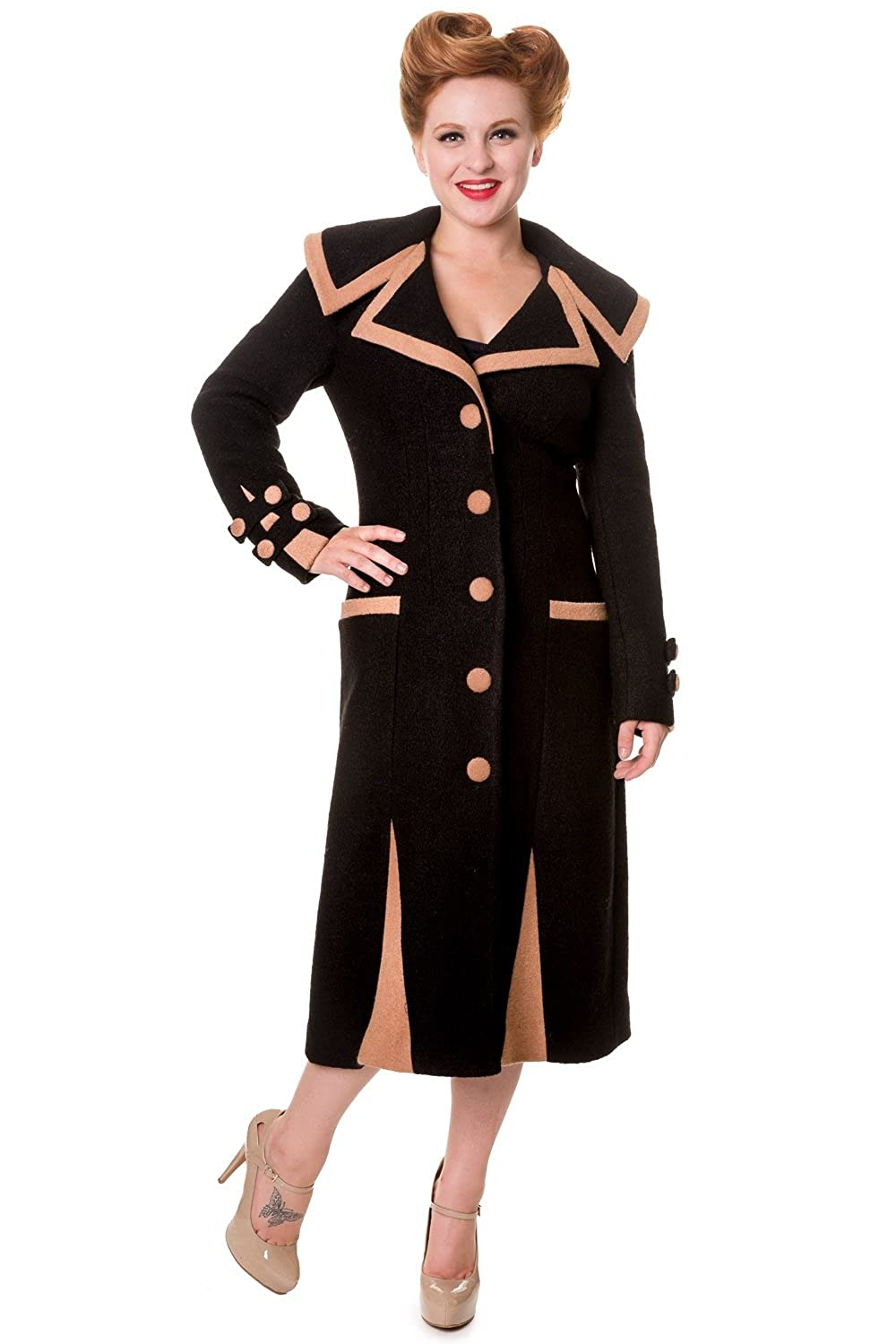 Vintage Coats & Jackets | Retro Coats and Jackets Banned Long Vintage Button Coat - Black or Camel $119.95 AT vintagedancer.com