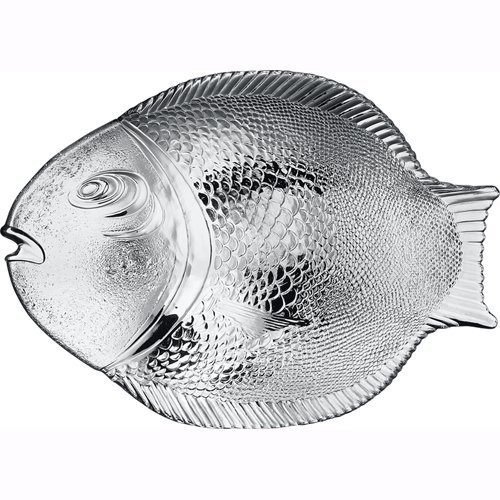 Pasabahce 10258, 14.25x10.5'' Large Glass Dinner Fish Plate, Unique Design Serving Platter Dish, Fish Shape Textured Glass Serving Dish, Food Tray, Party Platter for Fish Sushi Fruit Cheese (6 PACK)