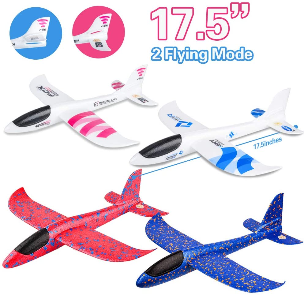 Outside Toys Outdoor Kids Toys for Backyard Large Foam Plane Glider Outdoor Yard Games for Kids Family Adults Gifts// Toys for 3 4 5 6 7 8 9 10 Year Old Boys Girls BooTaa 2 Pack 20 Airplane Toy