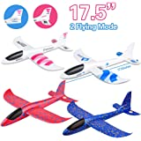 "4 Pack Airplane Toy, 17.5"" Large Throwing Foam Plane, Dual Flight Mode, Aeroplane Gliders, Flying Aircraft, Gifts for Kids, 3 4 5 6 7 Year Old Boy,Outdoor Sport Game Toys, Birthday Party Favors"