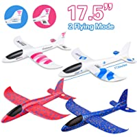 """4 Pack Airplane Toy, 17.5"""" Large Throwing Foam Plane, Dual Flight Mode, Aeroplane Gliders, Flying Aircraft, Gifts for Kids, 3 4 5 6 7 Year Old Boy,Outdoor Sport Game Toys, Birthday Party Favors"""