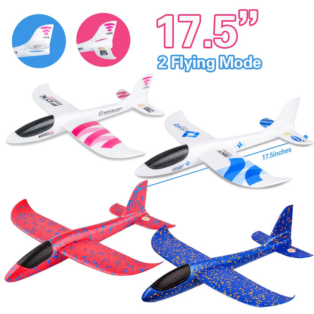 4 Pack Airplane Toy, 17.5'' Large Throwing Foam Plane, Dual Flight Mode, Aeroplane Gliders, Flying Aircraft, Gifts for Kids, 3 4 5 6 7 Year Old Boy,Outdoor Sport Game Toys, Birthday Party Favors by BooTaa